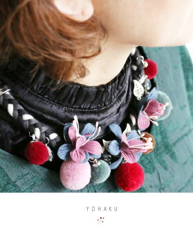 「YOHAKU」色合いが優しい花と綿毛のネックレス11月7日22時販売新作