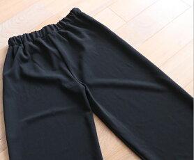 (予約受注会)【再入荷♪10月10日12時&22時より】(予約販売:10月20日〜11月20日前後の出荷予定)(ブラック)「pave」シンプルで活躍間違いない黒のゆったりパンツ
