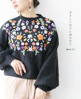 ▼▼(ブラック)「mori」やさしい花々に囲まれてトップス12月25日22時販売新作