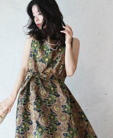 【再入荷♪8月26日12時&22時より】「french」品格の織りドレスワンピース