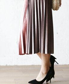 【再入荷♪10月24日12時&22時より】■■(ピンク×ブラウン)「pave」艶シンプルの光沢あるプリーツスカート/Z1