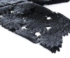 【再入荷♪8月31日12時&22時より】「pave」黒い花の美しいレースワンピース
