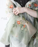 【再入荷♪7月20日12時&22時より】「french」花刺繍の新緑ストール
