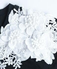 【再入荷♪9月2日12時&22時より】「pave」可憐な白花レーストップス