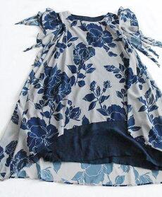 【再入荷♪8月31日12時&22時より】(ブルー)「pave」ひらり踊る裾の花ワンピース