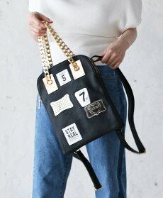 【再入荷♪5月22日12時&22時より】「french」レザー調チェーンハンドル2wayバッグ