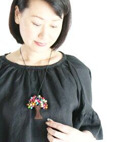 【再入荷♪9月14日12時&22時より】「YOHAKU」カラフルな木モチーフネックレス
