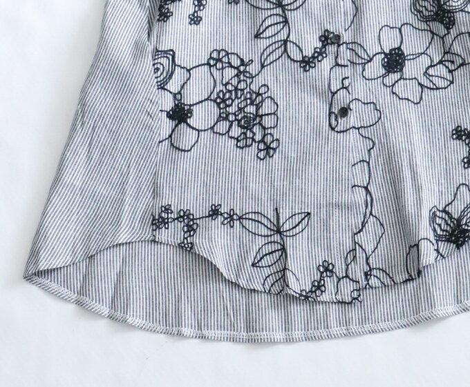 (予約受注会)【再入荷♪4月3日12時&22時より】(予約販売:4月20日~5月15日前後の出荷予定)「french」アートな花刺繍のストライプシャツ(メール便不可)