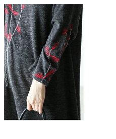 ▼▼「french」凛と咲いた花刺繍のニットワンピース9月24日22時販売新作