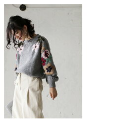 ▼▼(グレー)「french」袖元に咲いた花刺繍のほっこりニットトップス9月29日22時販売新作