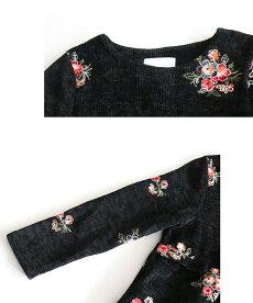 ▼▼「pave」お花刺繍を咲かせたコーデュロイワンピース10月14日22時販売新作