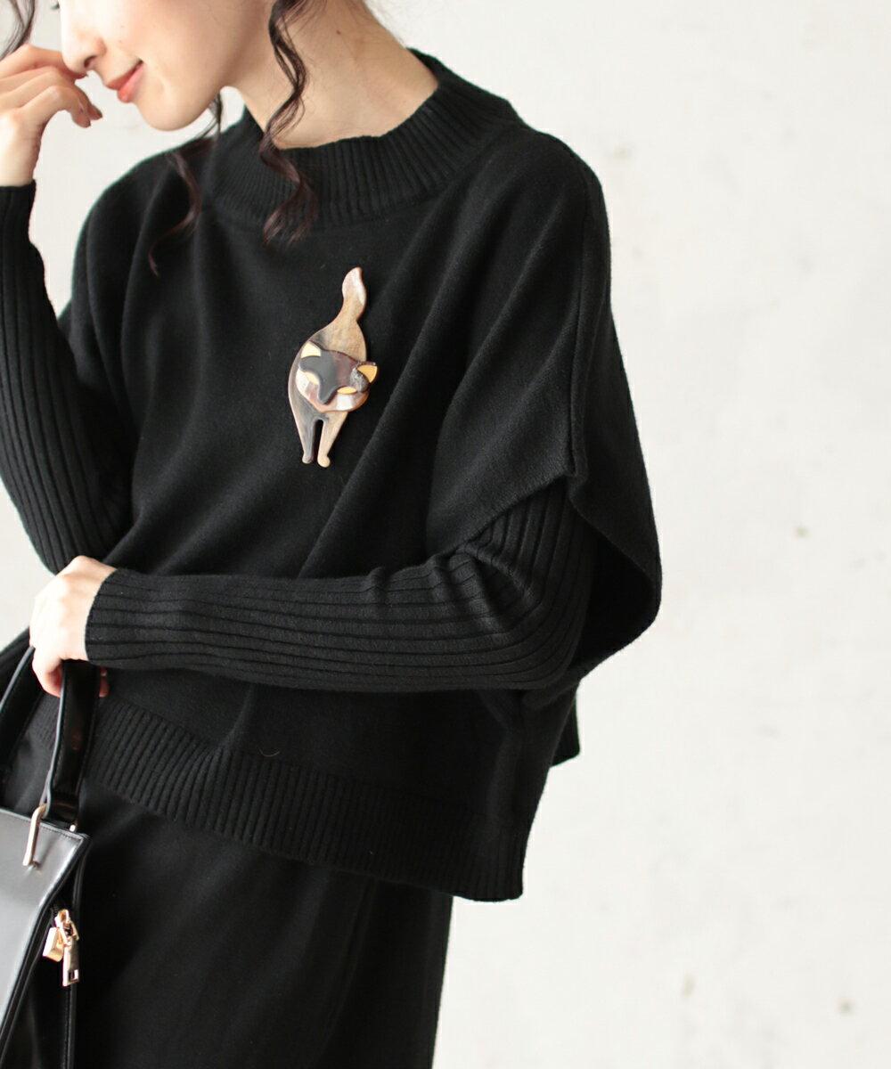【再入荷♪4月12日12時&22時より】(1個)「french pave」装いにプラス。しなやかな猫のブローチ