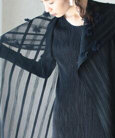 ▼▼「frenchpave」花咲くショールを纏うようなアコーディオンプリーツワンピース1月8日22時販売新作