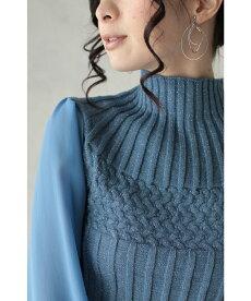 ▼▼(ブルー)「frenchpave」ふんわりシアー袖。浮き彫りレリーフラインのニットトップス1月20日22時販売新作