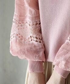 ▼▼(ピンク)「frenchpave」トライバル刺繍とレースのシアーポワン袖トップス2月25日22時販売新作