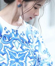 ▼▼「frenchpave」爽やかなブルーに目を奪われるスカーフ柄トップス3月7日22時販売新作