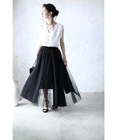 【再入荷♪10月5日12時&22時より】「pave」異素材を合わせたミックススカート
