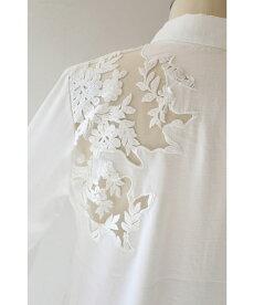 【再入荷♪9月7日12時&22時より】「french」透ける白花刺繍のトップス