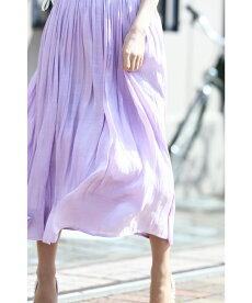 ☆☆◇◇【再入荷♪4月19日12時&22時より】S〜M/L〜2L対応(バイオレット)「FRENCHPAVEオリジナル」風に揺れるグロッシースカート