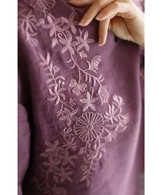▼▼◇◇(M~2L対応)(パープル)「FRENCHPAVE」刺繍で描いたお花のコットンリネンブラウストップス3月18日22時販売新作