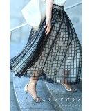 (S~L対応)【再入荷♪10月2日12時&20時より】格子チェックのふわり重なるチュールミディアムスカート黒ステンドガラススカート