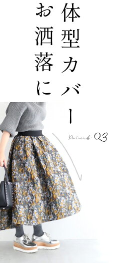 ☆☆◇◇(S~M/L~2L対応)小花柄フレアジャガードスカート