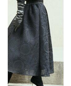 (S~M/L~2L対応)憧れのパリジェンヌレリーフレーススカート