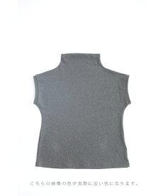 (グレー)Tシャツなのにエレガント。ひし形ちょい袖Tシャツトップス