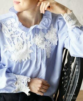 「french」花刺繍レースとひらりネックのふんわりトップス3月17日22時販売新作