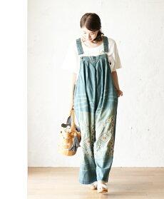 【再入荷♪9月26日12時&22時より】「french」花刺繍の大人可愛いデニムサロペット