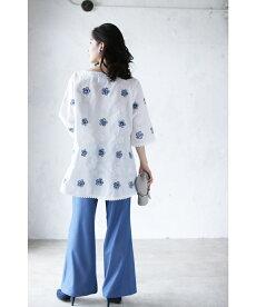 ▼▼「frenchpave」可愛いホワイトブルーの花刺繍咲くブラウストップス3月18日22時販売新作