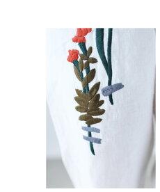 ▼▼「frenchpave」可愛い花刺繍。リネンの風合いパンツ3月16日22時販売新作