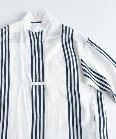 ▼▼「frenchpave」前後ヘムライン裾のストライプシャツワンピース3月22日22時販売新作