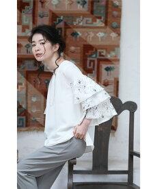 ▼▼(ホワイト)「frenchpave」優美な花刺繍のティアードフリル袖ブラウストップス4月1日22時販売新作