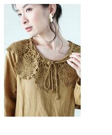 ▼▼「frenchpave」花編みレース襟のふんわりワンピース4月12日22時販売新作