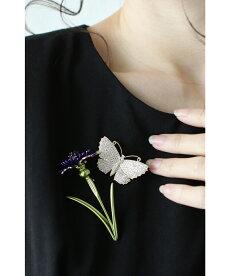 ▼▼「frenchpave」1輪の花と舞う蝶のエレガントブローチ4月11日22時販売新作