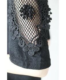 ▼▼「frenchpave」揺らめく裾。フェミニンなフレームレースの袖トップス月日22時販売新作