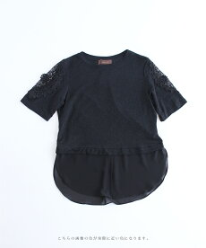 ▼▼(ブラック)「frenchpave」揺らめく裾。フェミニンなフレームレースの袖トップス月日22時販売新作