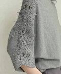 【予約受注会♪9月13日12時&22時より】(予約販売:9月25日〜10月25日前後の出荷予定)「frenchpave」腕に流れる彫刻のような美。実をつけた花レリーフニットトップス