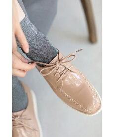 ▼▼(35~39)(ピンクベージュ)「frenchpave」柔らかく履きやすい。艶めくエナメルの厚底シューズ靴9月30日22時販売新作