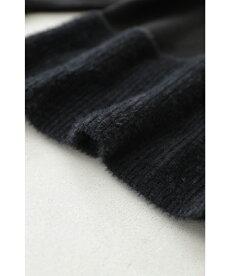 ▼▼(M~3L対応)(ブラック)「FRENCHPAVE」(黒)ふわふわシャギーのミックスニットトップス12月9日22時販売新作