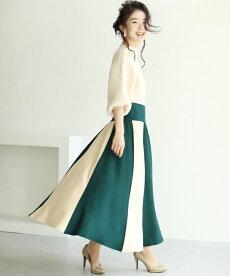 ▼▼(M~3L対応)(グリーン)「FRENCHPAVE」切り替えバイカラーののフレアニットロングスカート12月7日22時販売新作