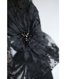 ▼▼(S~M対応)(ブラック)「FRENCHPAVE」(黒)ビジュー輝く花のポワン袖リブニットトップス1月22日22時販売新作