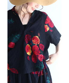 ▼▼「frenchpave」(黒)黒に映える花のカシュクール風ワンピース6月28日22時販売新作