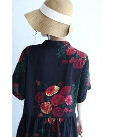 ◇◇【再入荷♪5月31日12時&22時より】「FRENCHPAVE」(黒)黒に映える花のカシュクール風ワンピース