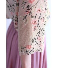 ▼▼(S~L対応)「FRENCHPAVE」枝垂れ咲く花。ほんのりピンクの柔らかシャツトップス6月23日20時販売新作