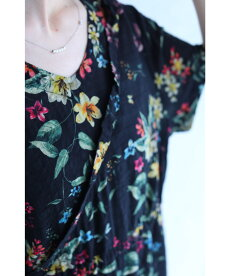 ▼▼(M~3L対応)「FRENCHPAVE」(黒)黒に浮かぶ花と蝶のコットンリネンロングワンピース6月30日20時販売新作