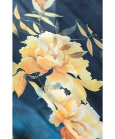 ▼▼(M対応)「FRENCHPAVE」(紺)ひらひら舞う裾のボタニカルシアーロングワンピース7月1日20時販売新作