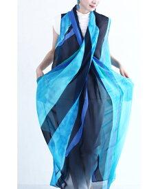 ▼▼(S~L対応)「FRENCHPAVE」揺らめく青のアート。ドレープミディアムワンピース7月31日20時販売新作