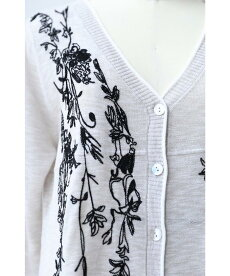 ▼▼(S~L対応)「FRENCHPAVE」流れるような植物モチーフ刺繍のロングカーディガン羽織り8月10日20時販売新作